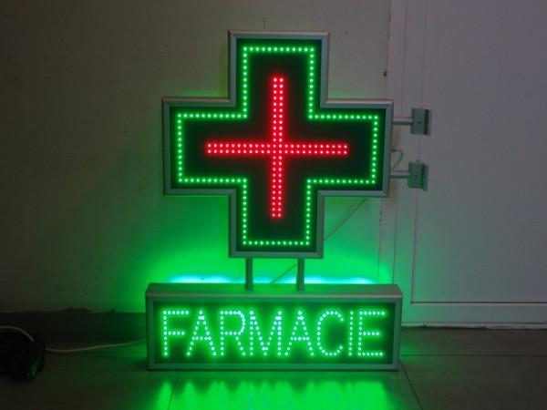 Cruce farmacie 600 x 600 CLASIC cu afisaj FARMACIE