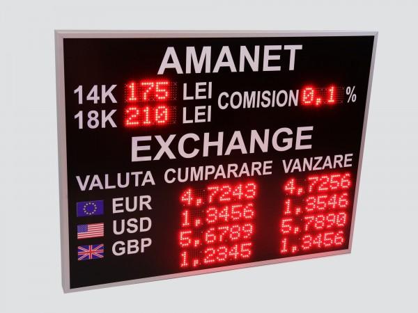 Afisaj electronic cu LED-uri pentru AMANET si CASELE DE SCHIMB VALUTAR