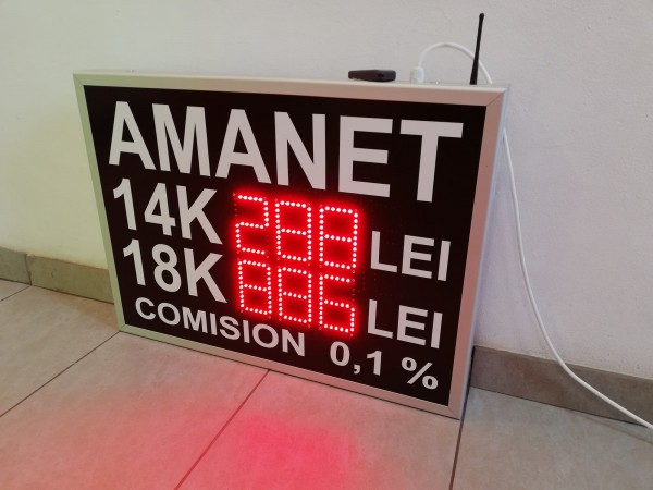 Afisaj electronic cu LED-uri 750mm x 550mm pentru AMANET