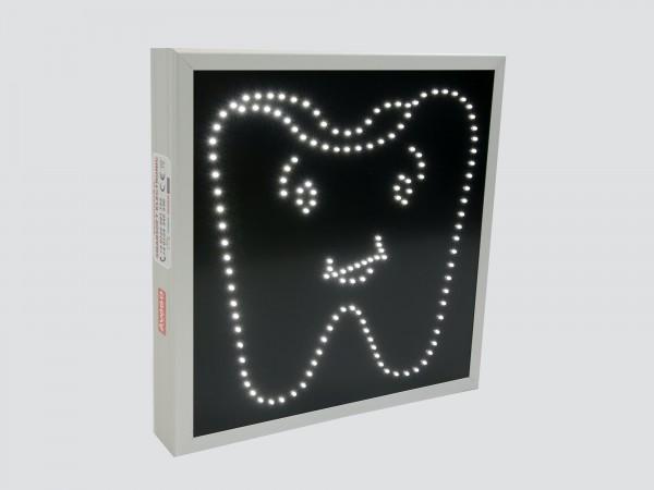 Reclama cu LED-uri forma DINTE pentru CABINETE STOMATOLOGICE