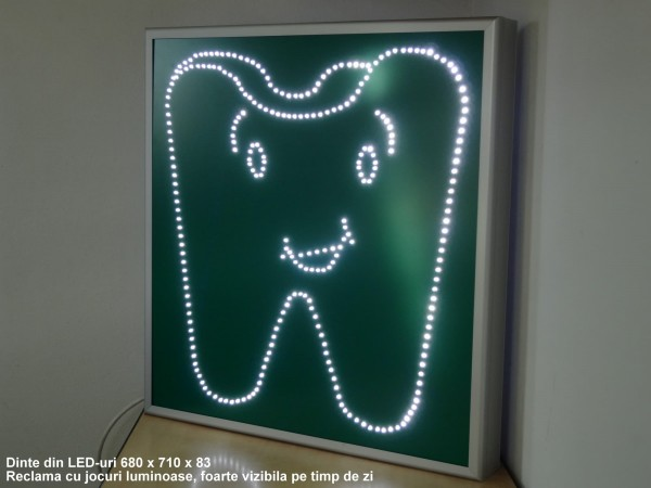 Dinte animat cu LED-uri, dimensiuni 680 x 720