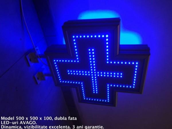 Cruce farmacie 500 x 500 ECONOMY,model FULL LED, LEDuri albastre