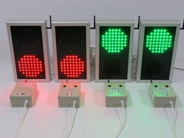 Sistem semafoare cu LED-uri, gestionare trafic pietonal intr-o parcare interna