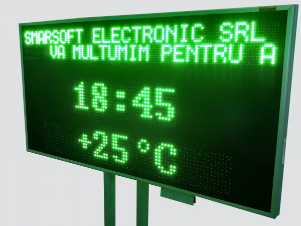 Panou electronic cu LED-uri afisare ora, data si parametri de mediu