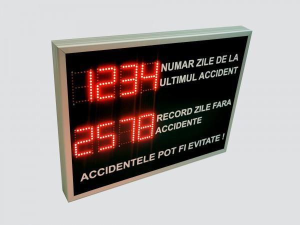 Afisaj electronic cu leduri 800mm x 600mm, contorizare zile de la ultimul accident