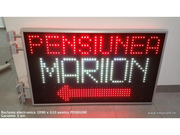 Reclama MIXTA cu LED-uri pentru PENSIUNE, dimensiuni 1090mmx610mm