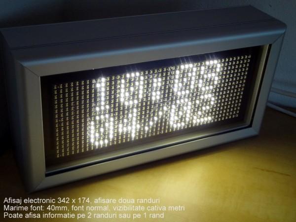 Afisaj cu LED-uri 348 x 180, afisare 2 randuri,DP 6mm