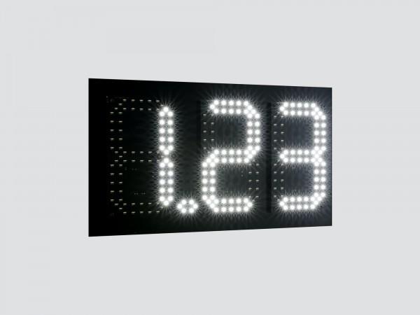 Pret BENZINARIE X.XX, marime digit 98mm x 182mm, LED-uri albe OSRAM