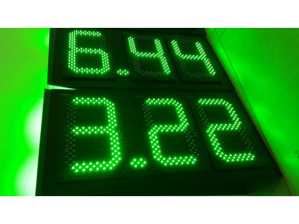 Pret BENZINARIE format X.XX, marime digit 120mmx225mm, LED-uri VERZI OSRAM
