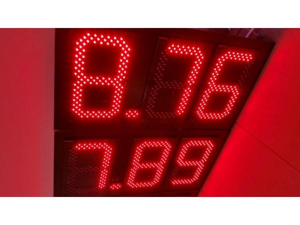 Pret BENZINARIE format X.XX, marime digit 120mmx225mm, LED-uri OSRAM ROSII