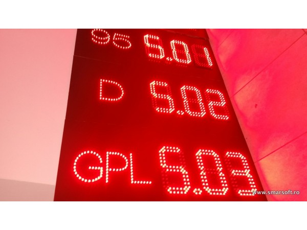 Sistem electronic COMPLET pentru BENZINARII, digiti 98 x 182, LED-uri rosii AVAGO
