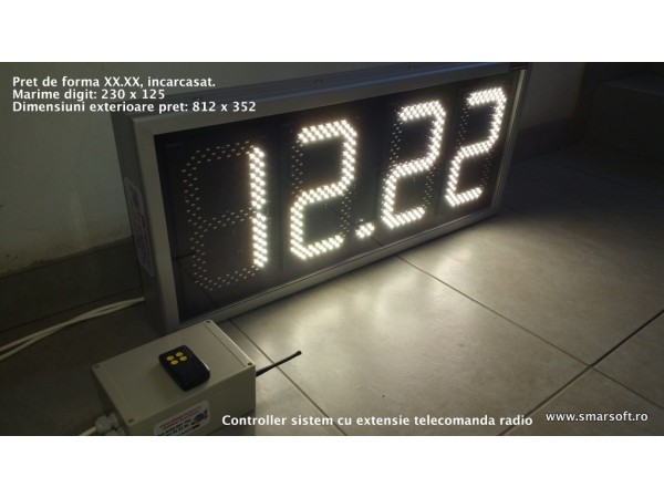 Afisaj electronic 812mm x 352mm,format XX.XX, digit 120 x 225