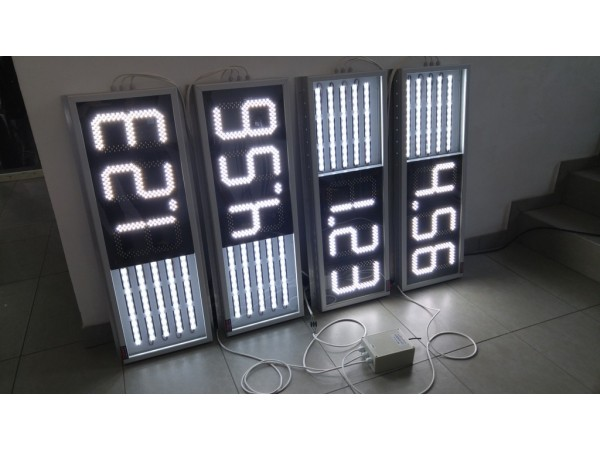 Afisaj electronic COMPLET 1000mm x 350mm, iluminare banda LED Osram pentru carburant, digit 120mm x 225mm pentru pret