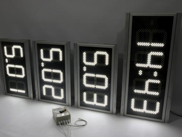 Sistem electronic COMPLET pentru TOTEMURI BENZINARIE format din 6 preturi X.XX digit 225mm si 2 ceasuri OraDataTemperatura