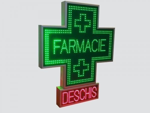Cruce farmacie 900 x 900 SEMNALIZARE, model FARMACIE cu afisaj cu LED-uri DESCHIS